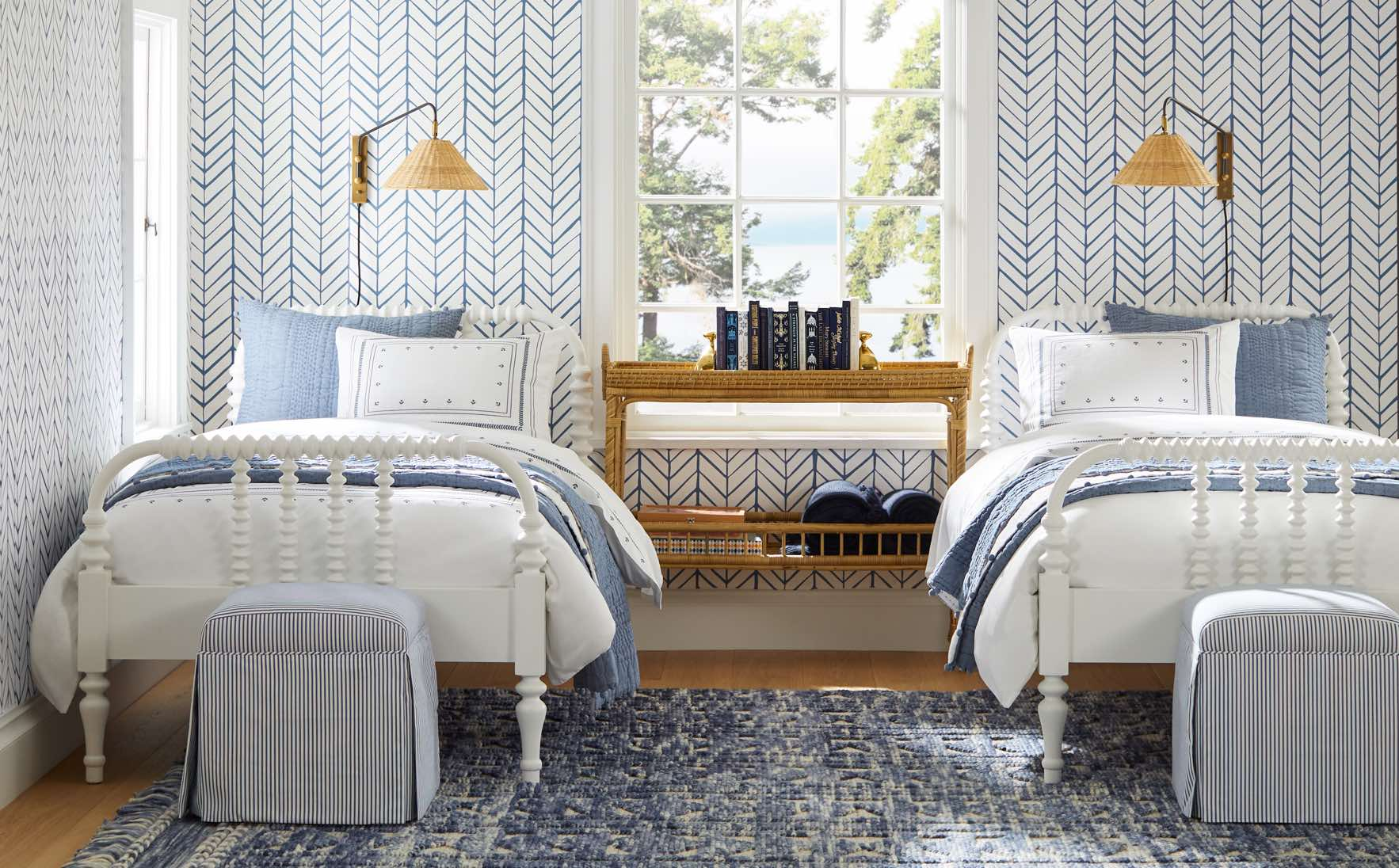 Nice in Blue and white bedroom from Serena & Lily