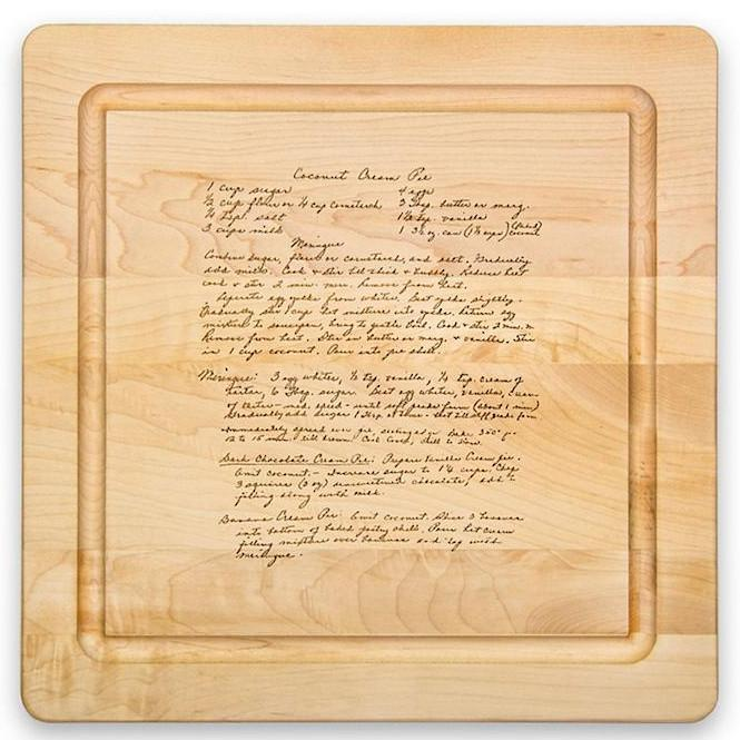 cutting board with recipes for the holidays