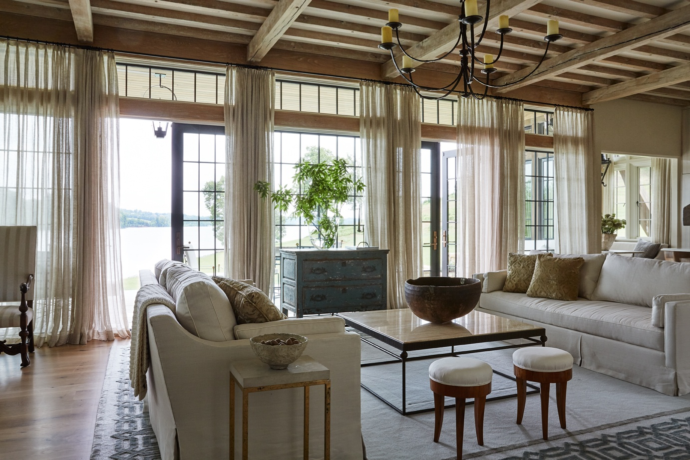 Jeffrey Dungan rooms livig room with french doors and beams