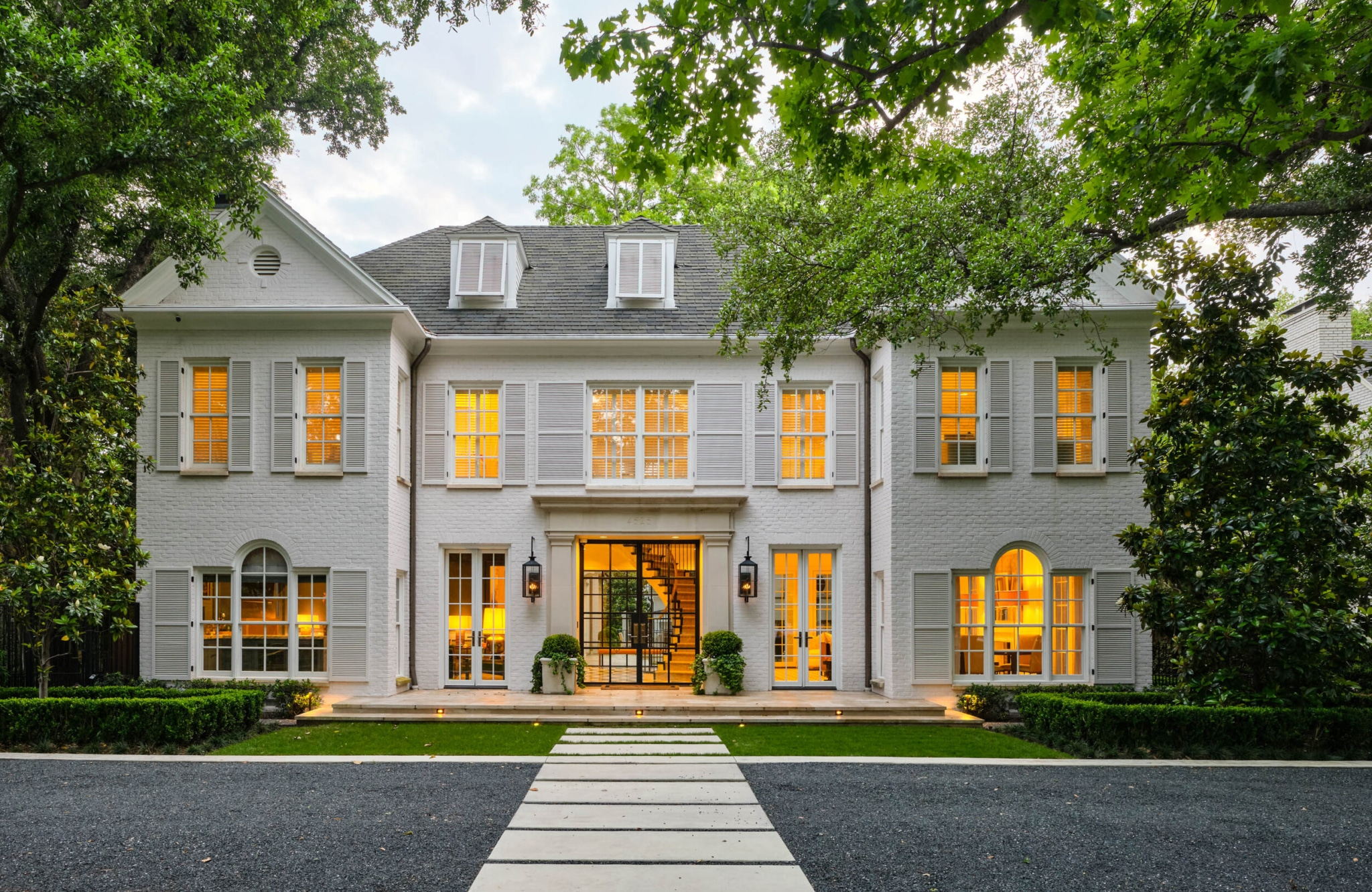 Mary Beth Wagner Interiors curb appeal white house white shutters