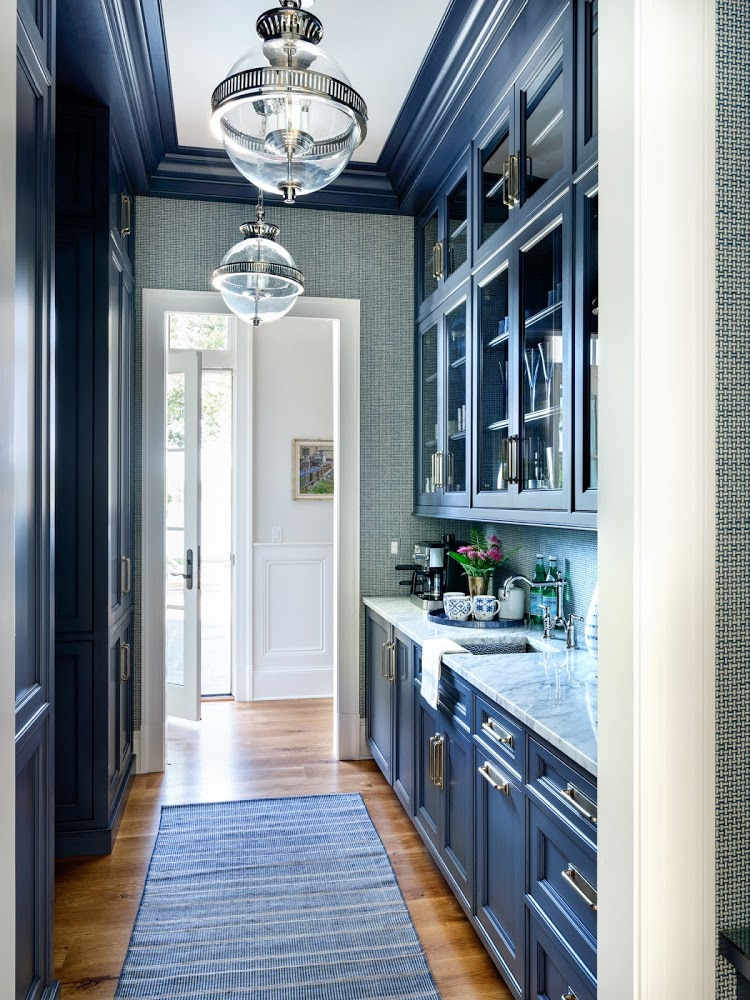 Marika Meyer designed deep blue butler's pantry