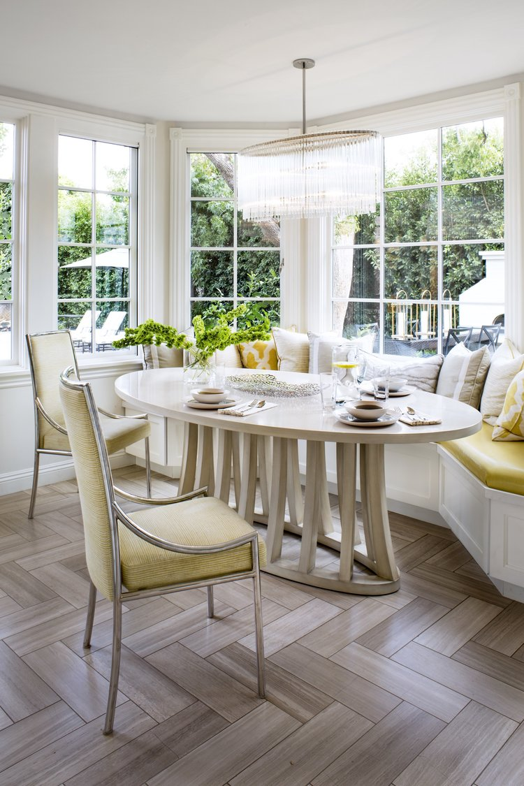 Beverly Hills house tour dining nook with banquette