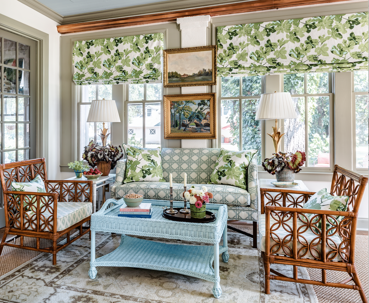 green and white sunroom