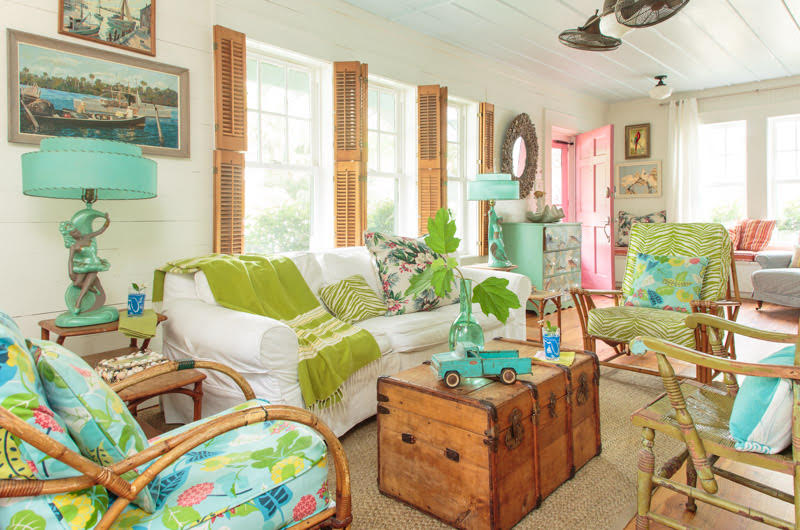 Mary Kay Andrews beach cottage living room with shiplap