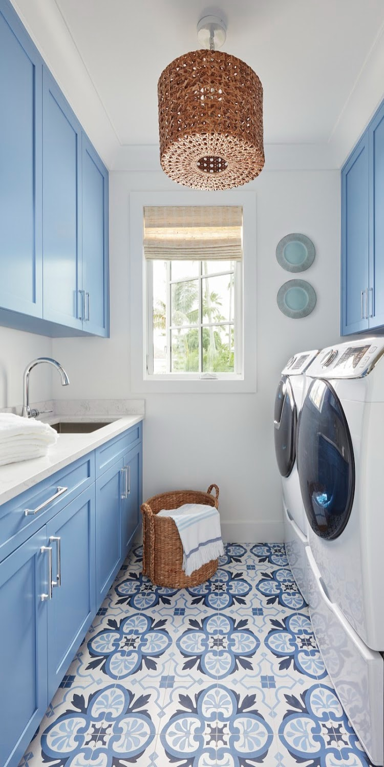 Kara Miller Design   Brantley Photography blue and white laundry room classic blue and white