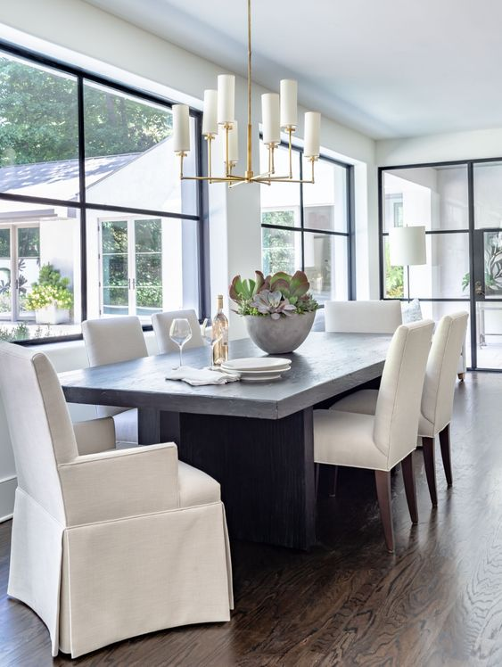 riors | Jeff Herr Photography dining room with steel windows