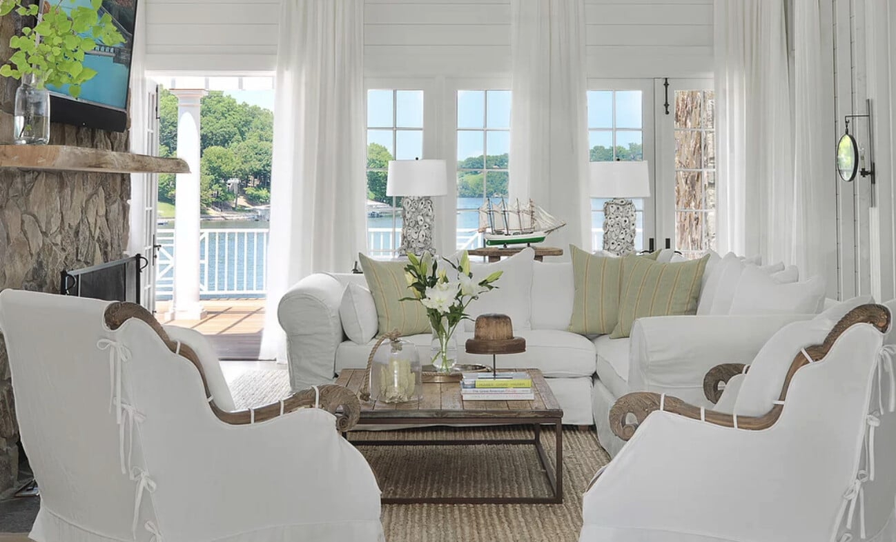 Nantucket house tour by Amy Studebaker Interior Design - Alise O'Brien Photography neutral family room